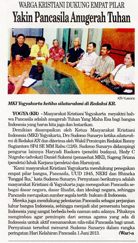 Haryadi Baskoro mendampingi Masyarakat Kristiani Indonesia menyampaikan aspirari Kristiani tentang Pancasila, dimuat di Harian Kedaulatan Rakyat (13 Juni 2013, hal 2)
