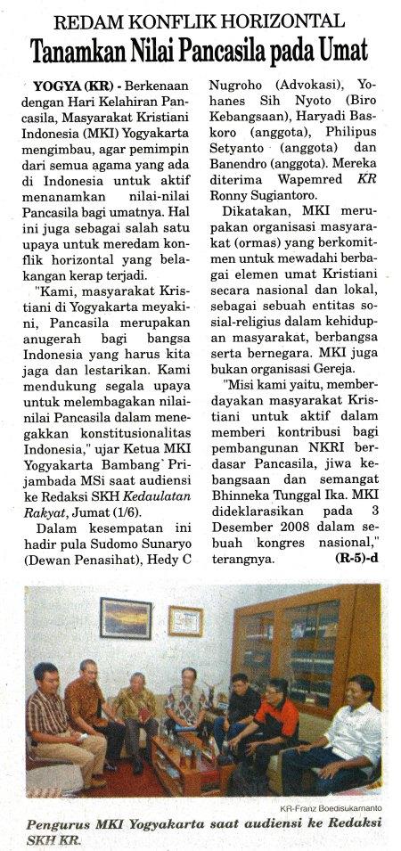 Haryadi Baskoro mendampingi Masyarakat Kristiani Indonesia menyampaikan aspirasi kepada publik, dimuat di Harian Kedaulatan Rakyat, 3 Juni 2012, hal 2.