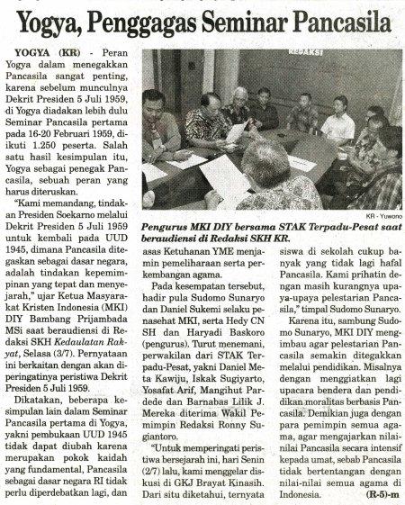 Haryadi Baskoro mendampingi Masyarakat Kristiani Indonesia menyampaikan aspirasi kepada publik, dimuat di Harian Kedaulatan Rakyat,  4 Juli 2012, hal 2